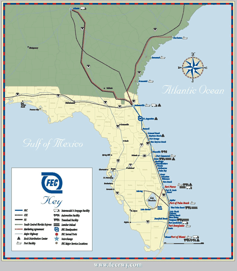 Map of Florida East Coast Line